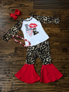LOVE Graphic Raglan with Leopard Bell Bottoms