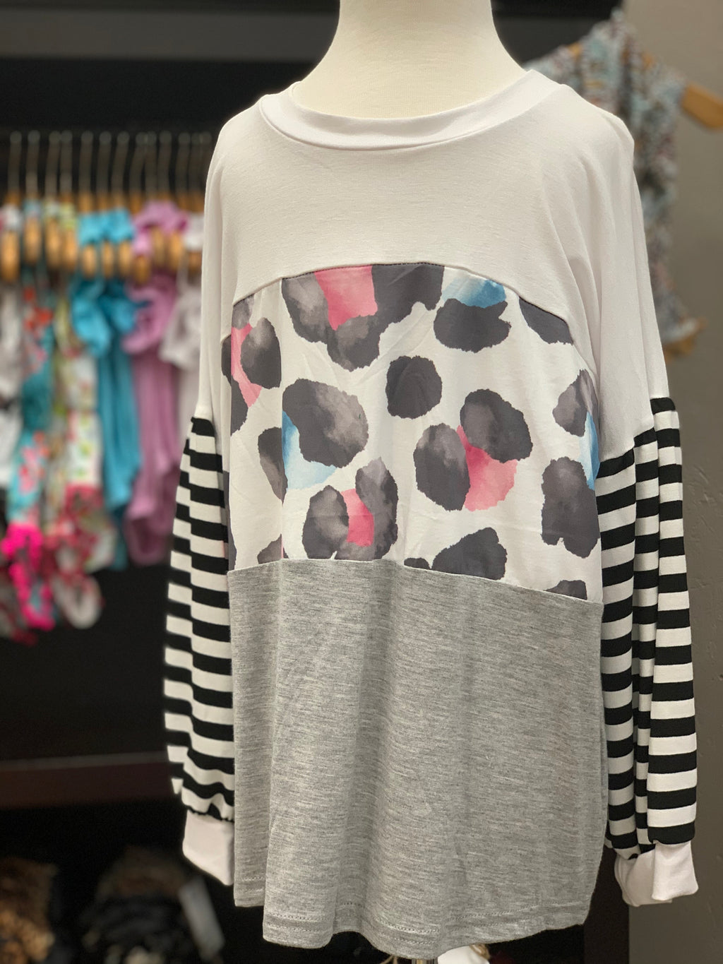 Watercolor Leopard L/S Tee