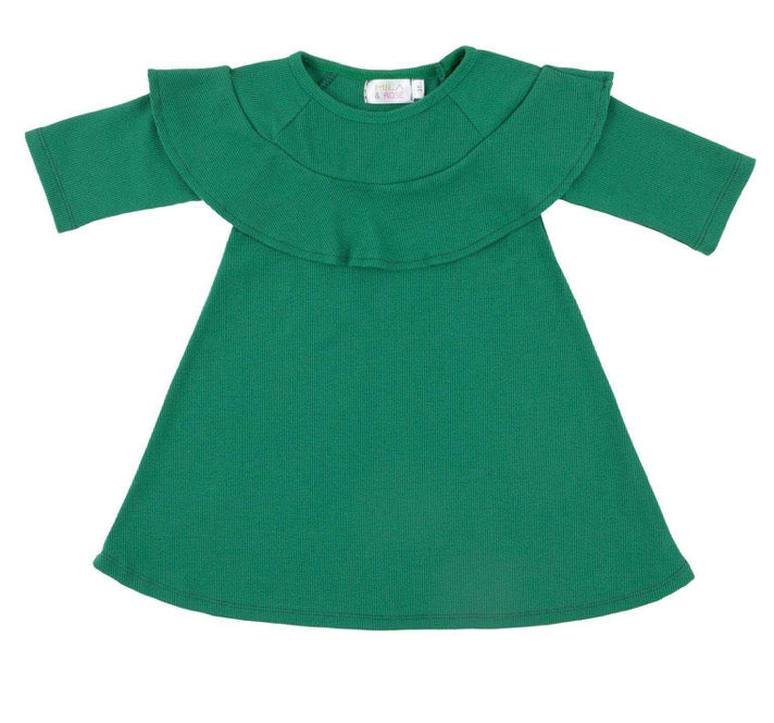 Green Ribbed Ruffle Dress
