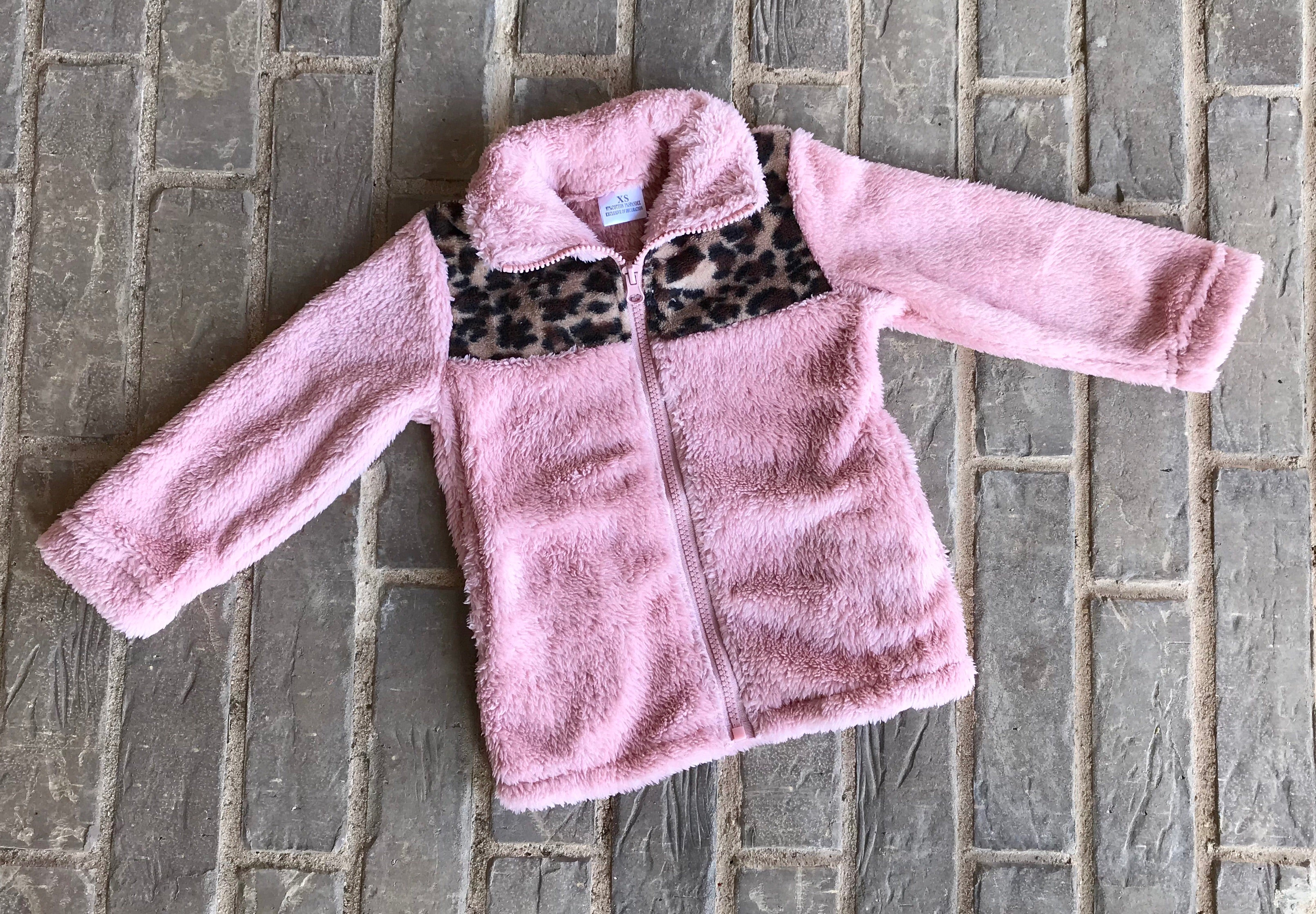 Blush Sherpa Jacket with Leopard Detail