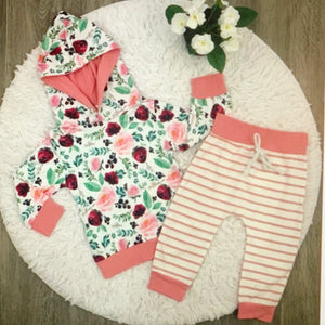 Floral and Stripes Sweatsuit