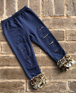 Denim & Leopard Ripped Leggings