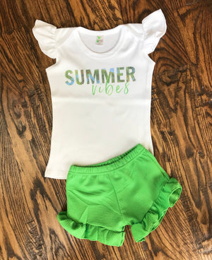 Lime Green Ruffle Shorts