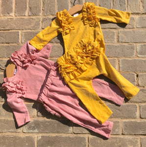 Ruffle Onesie and Pants 2-piece Set in Pink or Gold