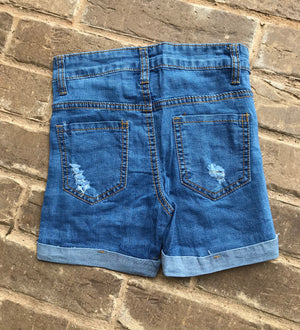 Jean Shorts with Ripped Detail