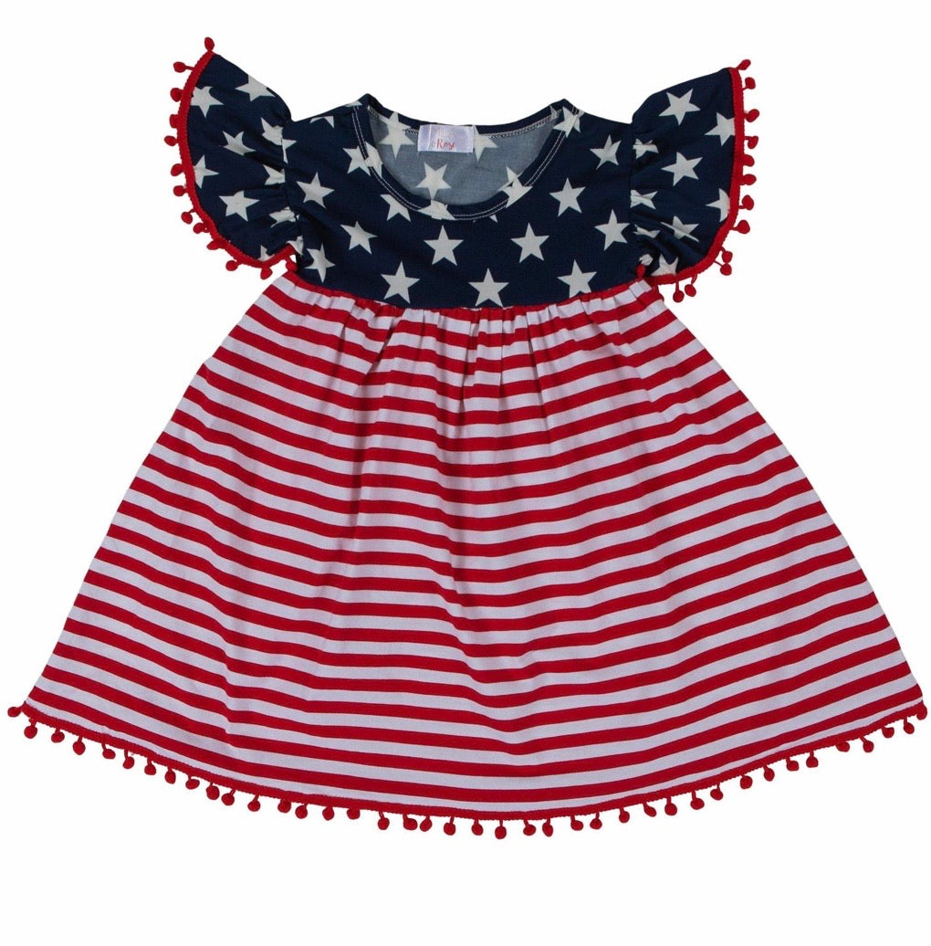 Patriotic Pom Pom Dress
