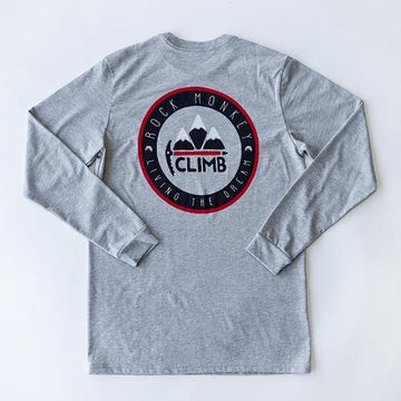 Climb Tee - Long Sleeve - Heather Grey-Tees-Rock Monkey Outfitters