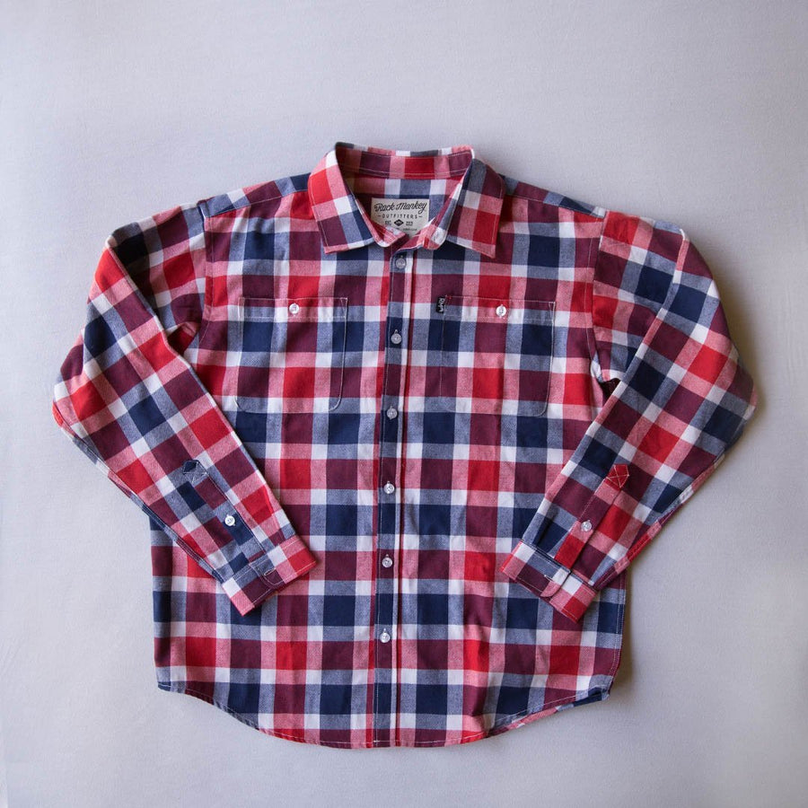 Flannel Button Down - Red and Blue-Outerwear-Rock Monkey Outfitters