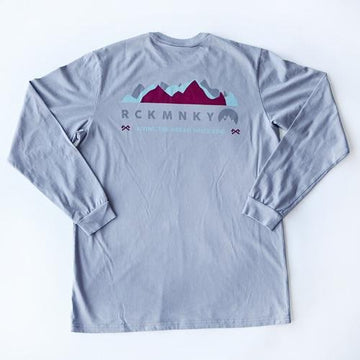 Mountain Waves Tee - Long Sleeve - Grey-Tees-Rock Monkey Outfitters