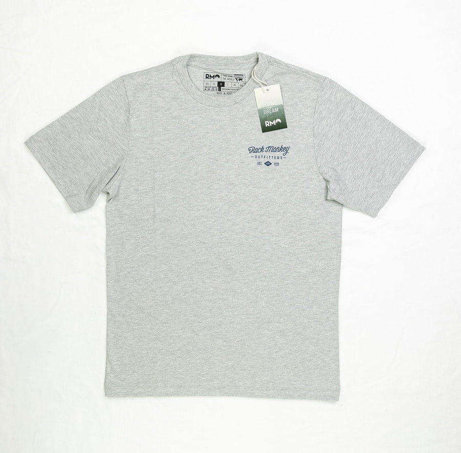One Travels Far Tee - Short Sleeve - Heathered Gray-Tees-Rock Monkey Outfitters