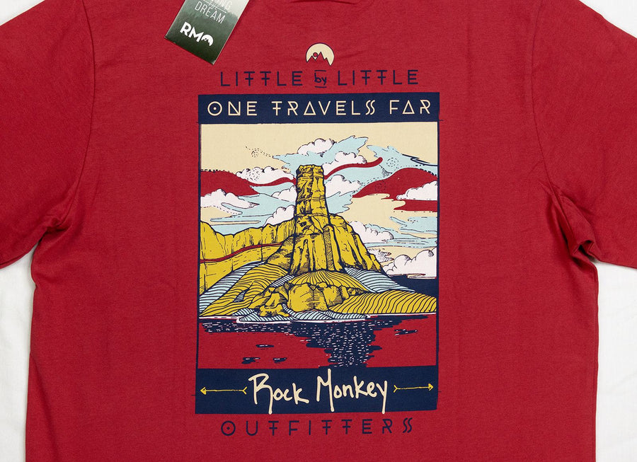 One Travels Far Tee - Short Sleeve - Red-Tees-Rock Monkey Outfitters
