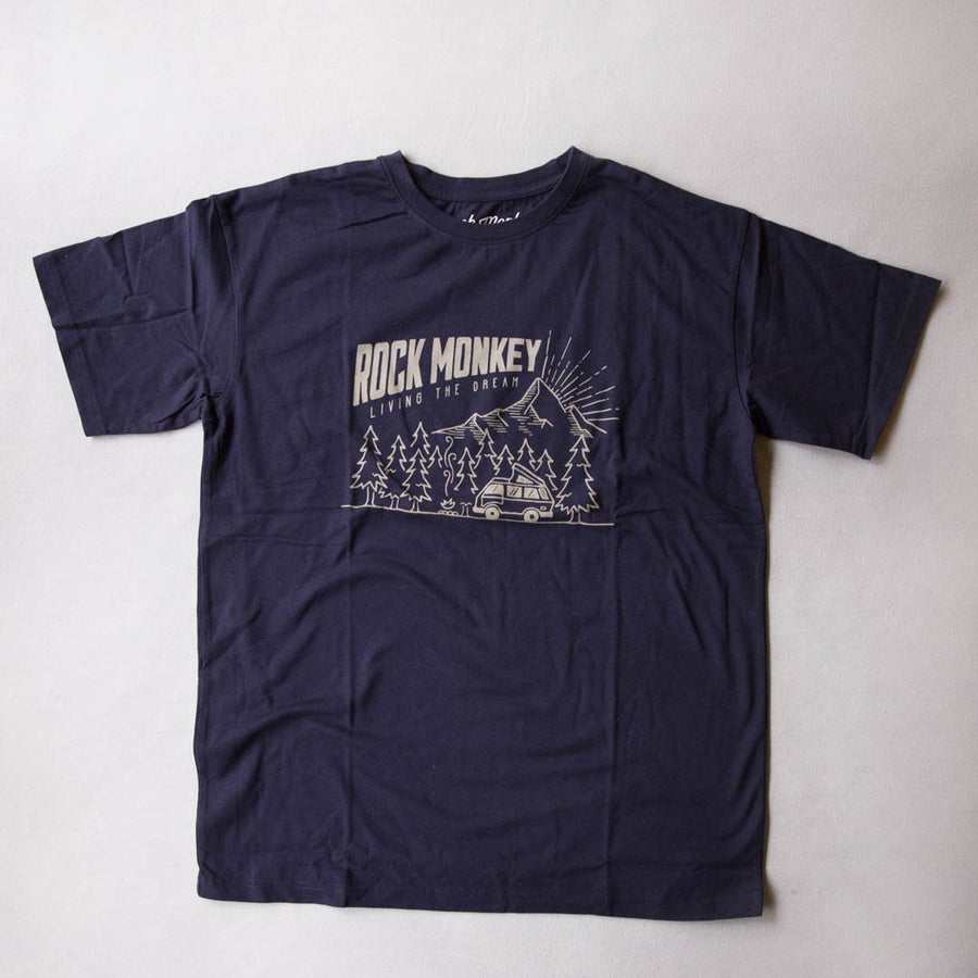 Rock Monkey Outfitters Short Sleeve Camper Tee Navy-Tees-Rock Monkey Outfitters