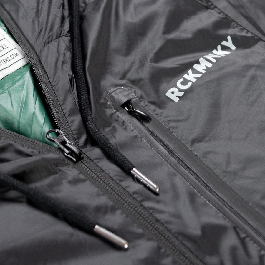 The Down Jacket - Black / Green-Outerwear-Rock Monkey Outfitters