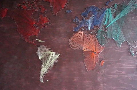 string art - string art géant - map monde string art
