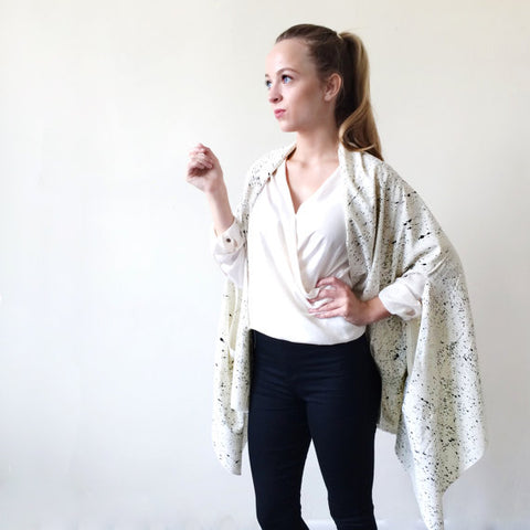 Pollock Raw Silk Cape Blanc