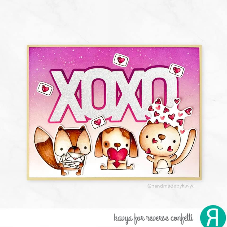 Layered XOXO Confetti Cuts