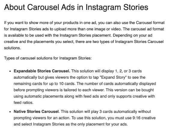 About Carousel Ads in Instagram Stories