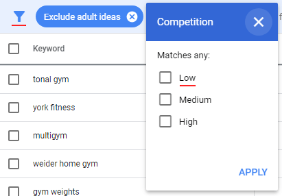 Competition keyword filter