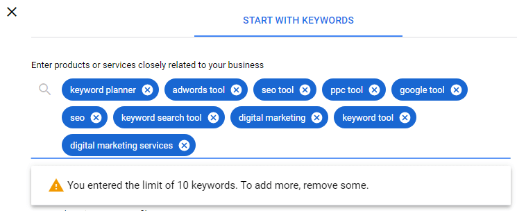 Seed keywords limit reached