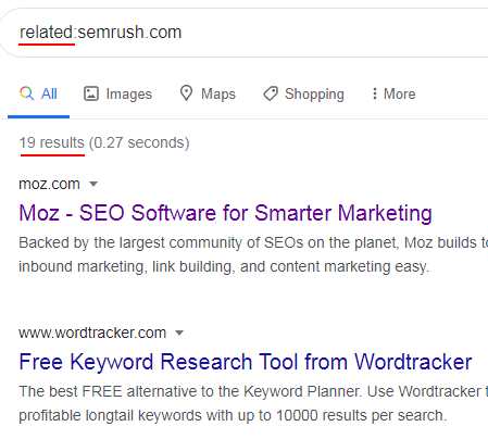 The Related advanced search operator