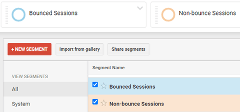 Google Analytics bounced and non-bounce segments ticked
