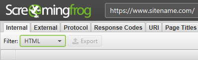Internal HTML tab in Screaming Frog