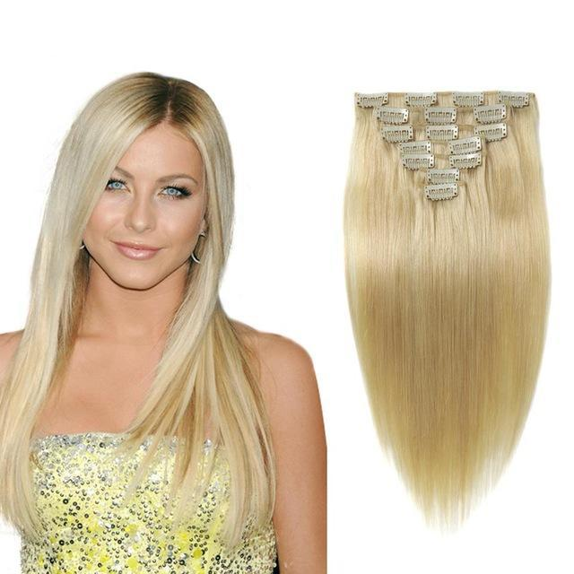 9 Piece 100g Clip In Brazilian Remy Hair Extensions Platinum Blonde