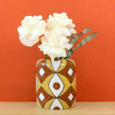 Glazed Stoneware Vase with Mid Century Pattern