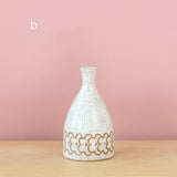 Glazed Stoneware Vase with Overlapping Flower Pattern