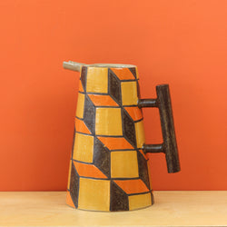 Glazed Stoneware Pitcher with Cube Pattern