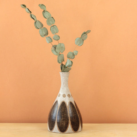 Glazed Stoneware Vase with Oval Pattern