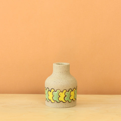 Glazed Stoneware Bud Vase with Overlapping Flower Pattern