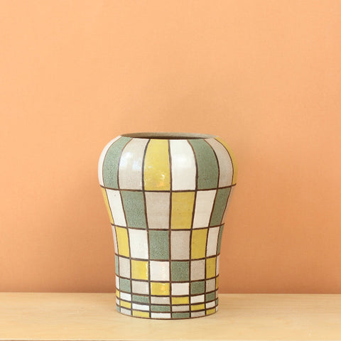 Glazed Stoneware Vase with Rectangle Pattern