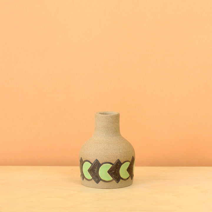 Glazed Stoneware Vase with Overlapping Circle/Diamond Pattern