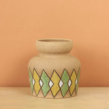 Glazed Stoneware Vase with Overlapping Diamond Pattern