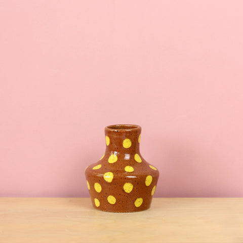 Glazed Stoneware Bud Vase with Polka Dots