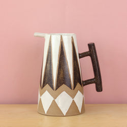 Glazed Stoneware Pitcher with Diamond Pattern