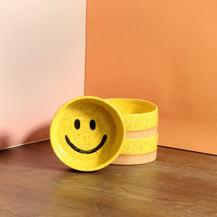 Glazed Stoneware Catch All Dish with Smiley Face