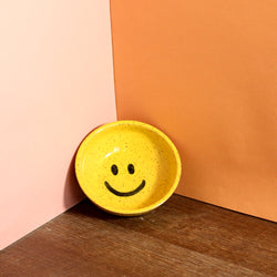 Glazed Stoneware Ring Dish with Smiley Face