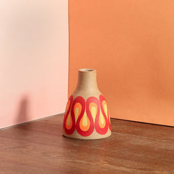 Stoneware Vase with Radiating Wave Pattern