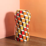 Glazed Stoneware Vase with Cube Pattern
