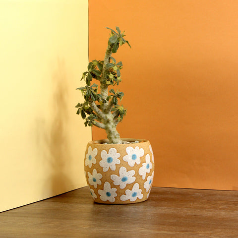 Glazed Stoneware Pot with Flower Pattern