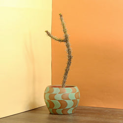 Glazed Stoneware Pot with Wavy Checker Pattern