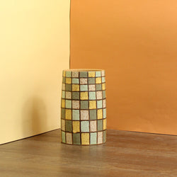 Glazed Stoneware Pot with Disco Floor Pattern