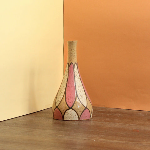 Glazed Stoneware Vase with Stardust and Oval Pattern