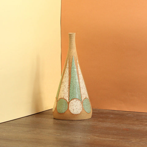 Glazed Stoneware Vase with Circle Pattern