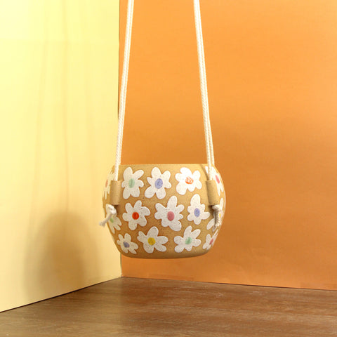 Glazed Stoneware Hanging Pot with Flower Pattern