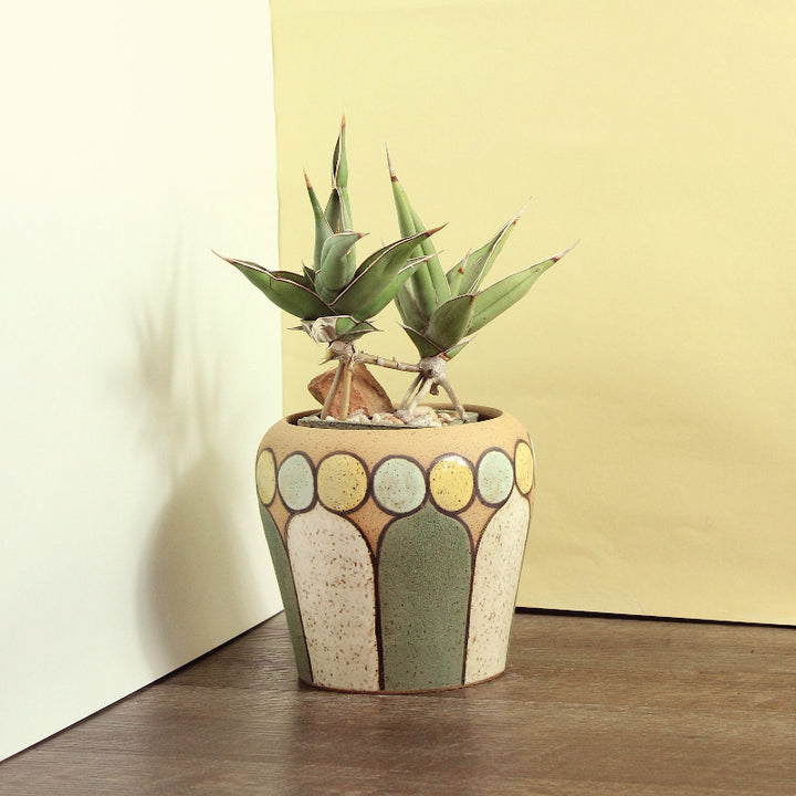 Glazed Stoneware Pot with Mid Century Pattern (MTO)