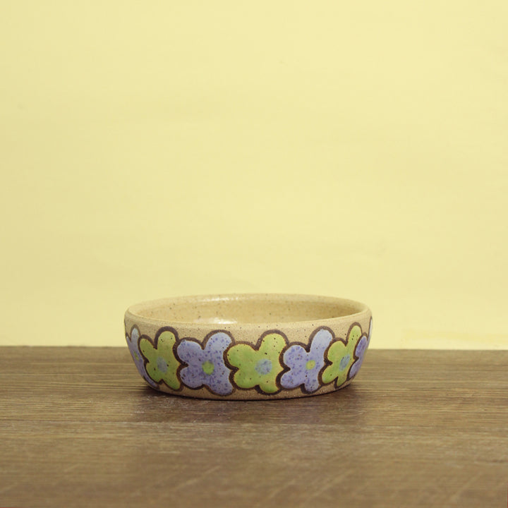 Glazed Stoneware Kitty Bowl/Catch All Dish with Flower Pattern