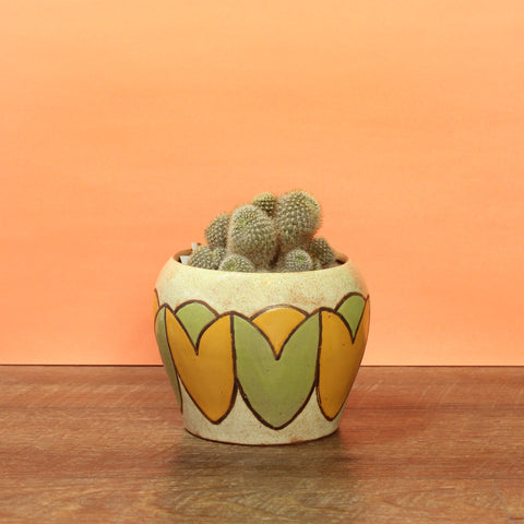 Glazed Stoneware Pot with Tulip Pattern
